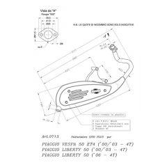 0713 - Muffler Leovince Sito 4-Stroke Piaggio LIBERTY 50