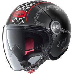 Helm Jet Nolan N21 Visor Getaway 62 Matt Schwarz Rot