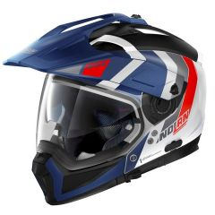 Helmet Full-Face Crossover Nolan N70.2 X DECURIO N-COM 33 Metal White Blue