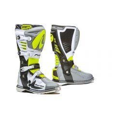 Bottes Forma Off-Road Motocross MX Predator 2.0 Gris Blanc Jaune Fluo
