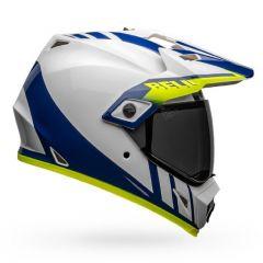 Integralhelm Bell MX-9 Adventure Mips Dash Glänzend Weiß Blau Gelb