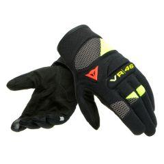 Gants de Moto Homme Dainese VR46 CURB SHORT Noir Gris Jaune-Fluo