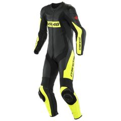 Leather Suit Dainese VR46 TAVULLIA 1PC Perforated Black Fluo-Yellow