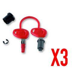 Z228 - Givi Kit de clés pour 3 valises et/ou top case, complet avec barillet