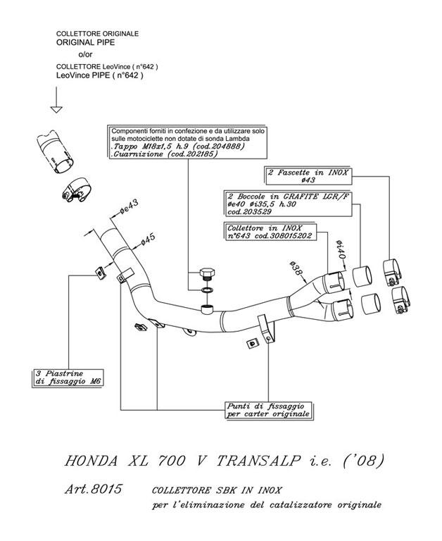 8015 Kit link pipe Leovince SBK eliminating the kat Honda XL 700 TRANSALP