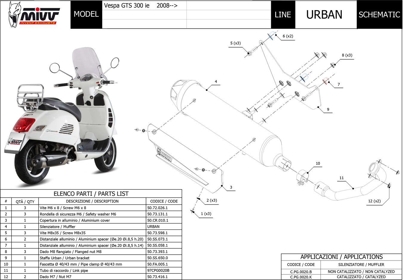Details about C.PG.0020.B - Full Exhaust Mivv URBAN PIAGGIO VESPA GTS on