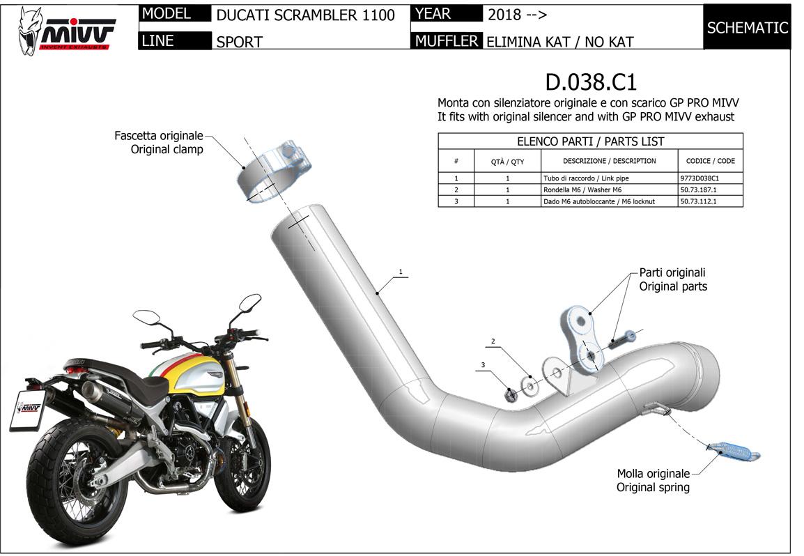 71696MI 18 Exhaust Mid Pipe Arrow No-Kat Ducati Scrambler 1100